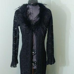 Forever 21 Black Lace feather Kimono/Cardigan